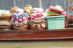 Hats for sale at Damnoen Saduak Floating Market - Thailand. Stock Images