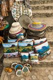 Hats for sale at la Piedra in Guatape Colombia stock images