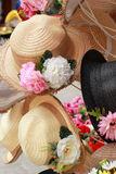 Hats for sale at the market Stock Photo