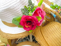Hats for sale at the market Stock Image