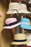 Hats for sale at the market.  Stock Photos