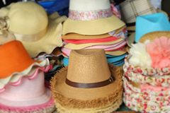 Hats for sale at the market Royalty Free Stock Images