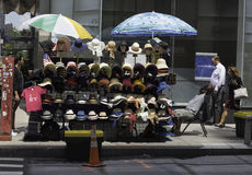 Hats for Sale. New York, NY USA -- Aug 3, 2016  A street vendor in Manhattan displays hats for sale. Editorial Use Only Royalty Free Stock Photos