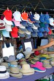 Hats for sale at a Spanish Sunday market Stock Images