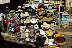 Hats for sale at street market. stock photos
