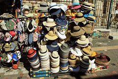 Hats for sale at street market. stock photography