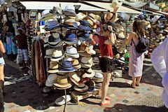 Hats for sale at street market. royalty free stock images