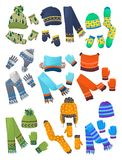 Hats, scarves and mittens for little boys. Set of hats, scarves and mittens for little boys isolated on white background Royalty Free Stock Photos