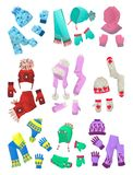 Hats, scarves and mittens for little girls. Set of hats, scarves and mittens for little girls isolated on white background Royalty Free Stock Images