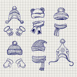 Hats scarves and mittens sketch Stock Photo