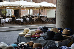 Hats selling, Italy. Hats for sale in a Italian square Royalty Free Stock Photos