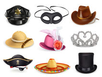 Hats set, collection of headgear Stock Photography