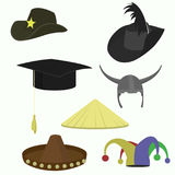 Hats set, collection of headgear. Vector icons vector illustration