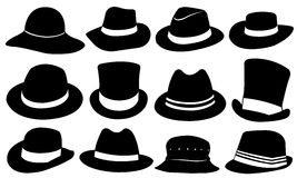 Hats. Set of different hats isolated Royalty Free Stock Photos