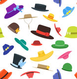 Hats Set Fashion Background Pattern. Vector Royalty Free Stock Photography