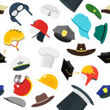 Hats Set Fashion Background Pattern. Vector Stock Photography