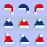 Hats. Set of flat design christmas hats Royalty Free Stock Photography