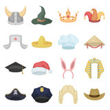 Hats set icons in cartoon style. Big collection of hats vector illustration symbol. Stock Image