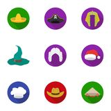 Hats set icons in flat style. Big collection of hats vector symbol stock illustration Stock Photo