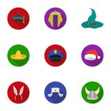 Hats set icons in flat style. Big collection of hats vector symbol stock illustration Royalty Free Stock Photos