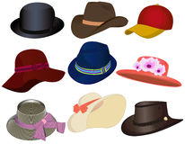 Hats. Set of nine different headwear isolated on white. Vector illustration Stock Photos