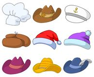 Hats set. Vector, set of various hats: Santa Claus, cook, sheriff, musketeer, captain and others Stock Photo