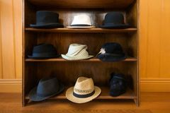 Hats on shelves Stock Image