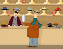 In the hats shop. Man buys a hat in a store, illustration Stock Photography