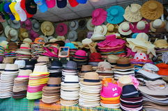 Hats shop. 7/30/2014 hats shop is close to the tourist attractions of Kanchanaburi Province in Thailand Royalty Free Stock Photos