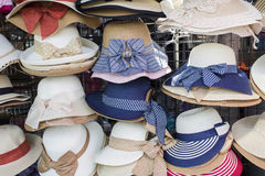 Hats showcase in the weekend market, thailand Stock Images