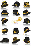 Hats silhouettes 2. Release 2.0 of two-tone silhouettes of hats, part of a collection of fashion and lifestyle objects vector illustration