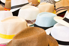 Hats on street market Stock Images