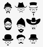 Hats with sunglasses and mustache Royalty Free Stock Image