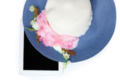 Hats and tablet ready for summer. on white background. Hats and iPad ready for summer. on white background Stock Images