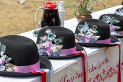 Hats used by ethnic Germans in Banat area, Romania. TIMISOARA,ROMANIA-JUNE 10,2018:Traditional hats used by ethnic Germans from Banat area,exhibited at the folk royalty free stock photography