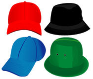 Hats - Vector. Four hats - vector.  EPS8 file available Stock Image