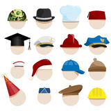 Hats. Vector collection of various hats royalty free illustration