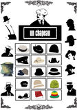 Hats vectors. Grunge hats vectors with profiles Royalty Free Stock Photos