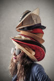 Hats. A very elegant woman with hats royalty free stock images