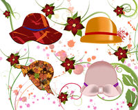 Hats for Women. Collection of hats for women Royalty Free Stock Photos