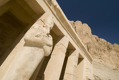Hatschepsut temple egypt. Hatschepsut temple with pharaoh statue in Luxor, Egypt royalty free stock photography
