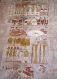 Hatshepsout temple Deir el-Bahari (Thebes), Egypt, Africa. Hieroglyphs in temple, Egypt, Africa royalty free stock photos
