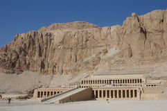 Hatshepsut Temple. The mortuary temple of Queen Hapshepsut, one of the few female pharaohs, at Deir el-Bahri on the western bank of the Nile near Luxor (Thebes Royalty Free Stock Image