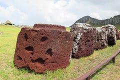Hatt av Moai i påskön, Chile Arkivbilder