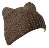 Hatt för kvinna` s Stucken hatt som isoleras på vit bakgrund medf8ort arkivbilder