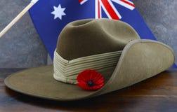 Hatt för slokande för australierAnzac Day armé Arkivfoton