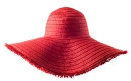 Hatt för sugrör för sommar för kvinna` s isolerad röd Arkivbild