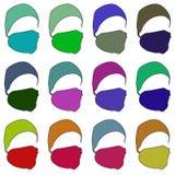 Hatt med en maskering i olika färger raster 2 Arkivfoto