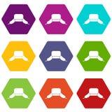Hatt med hexahedron för färg för uppsättning för öraklaffsymbol royaltyfri illustrationer