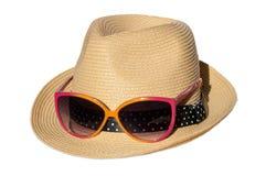 Hatt med rosa suglasses Arkivfoto